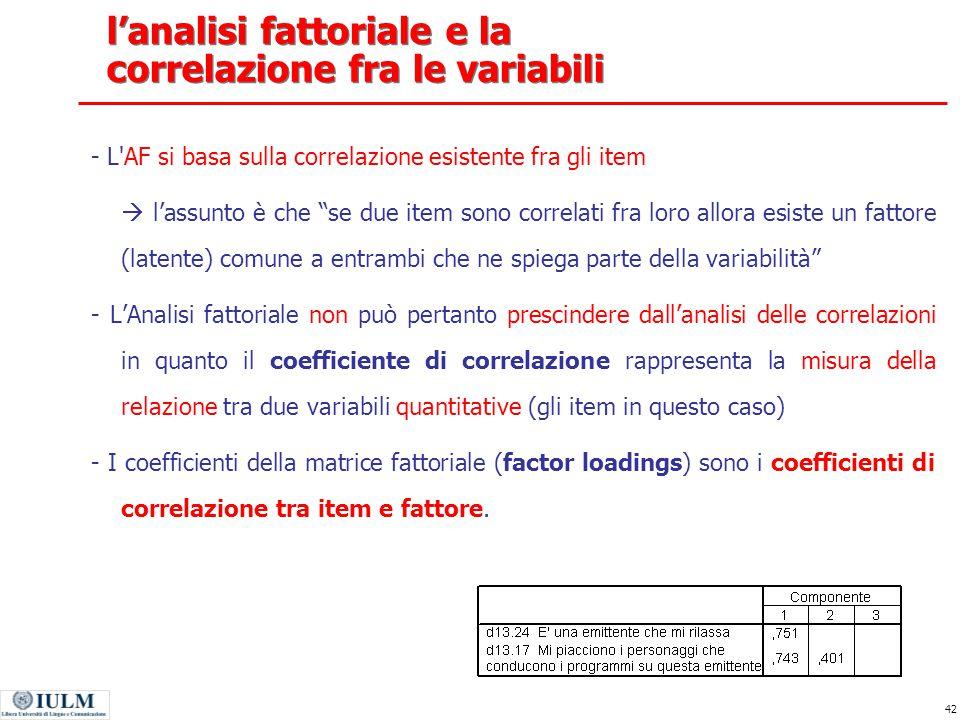 l'analisi fattoriale e la correlazione fra le variabili