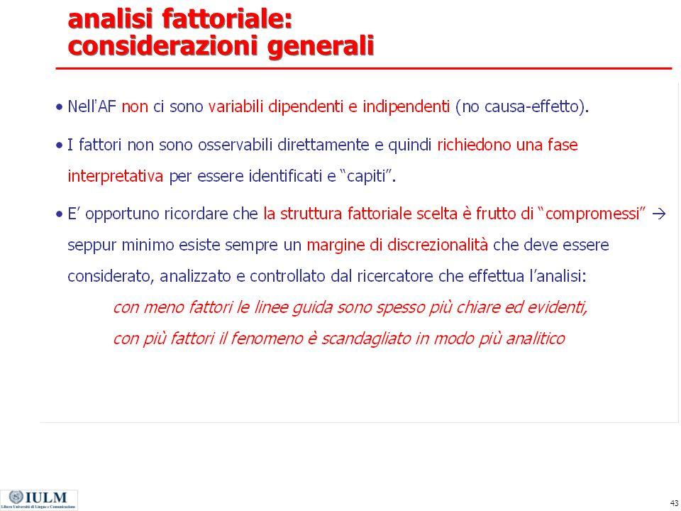 analisi fattoriale: considerazioni generali
