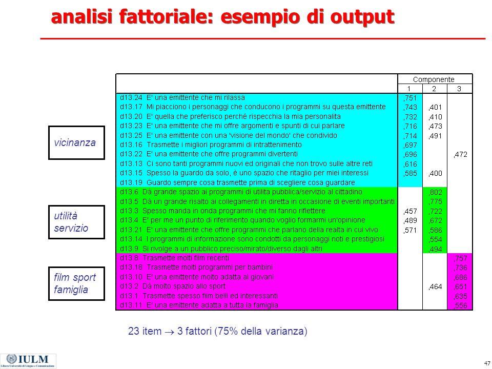 analisi fattoriale: esempio di output
