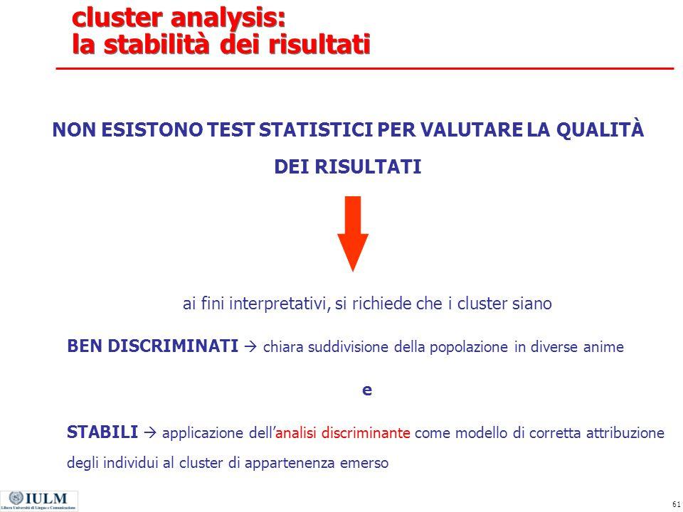 cluster analysis: la stabilità dei risultati