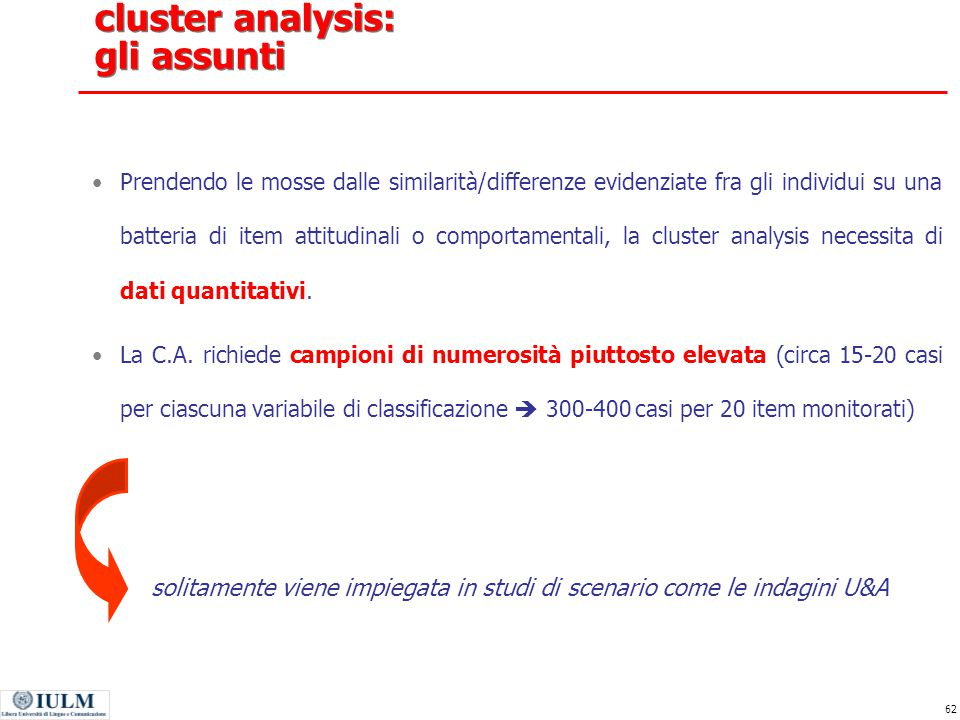 cluster analysis: gli assunti