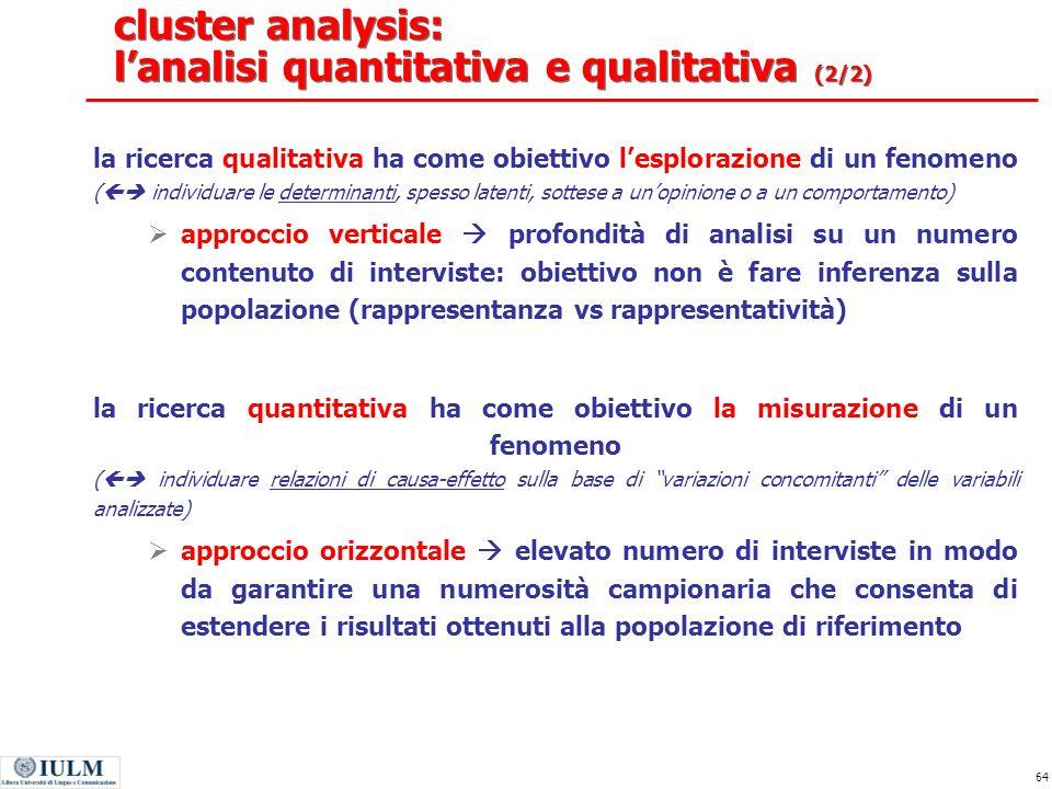 cluster analysis: l'analisi quantitativa e qualitativa (2/2)
