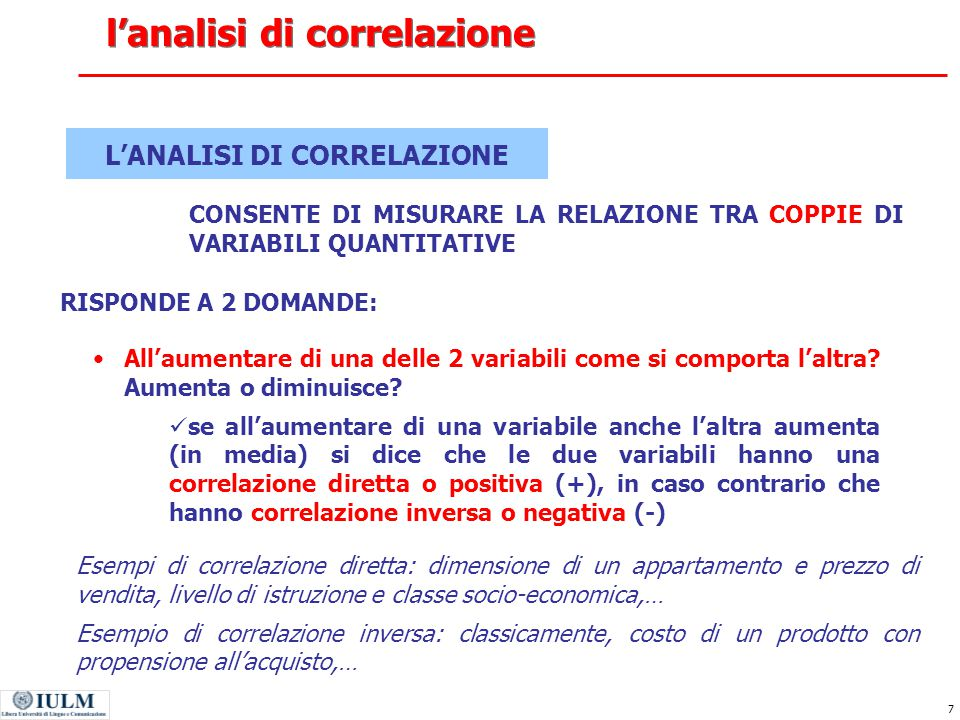 l'analisi di correlazione