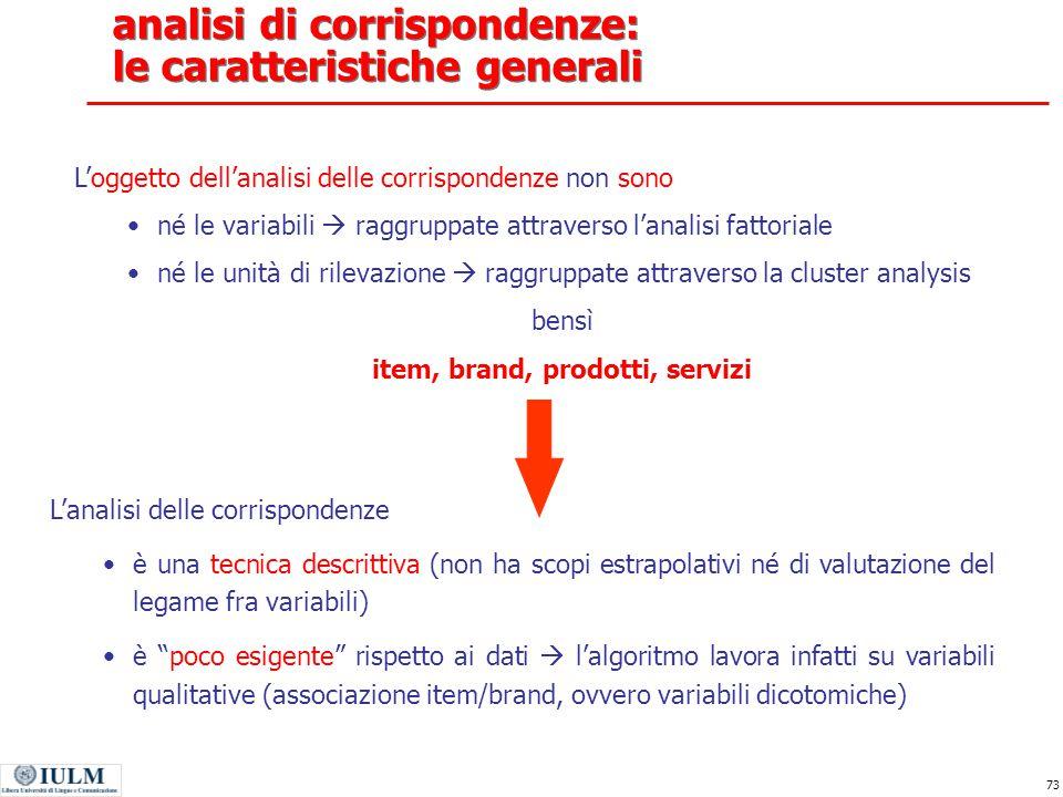 analisi di corrispondenze: le caratteristiche generali