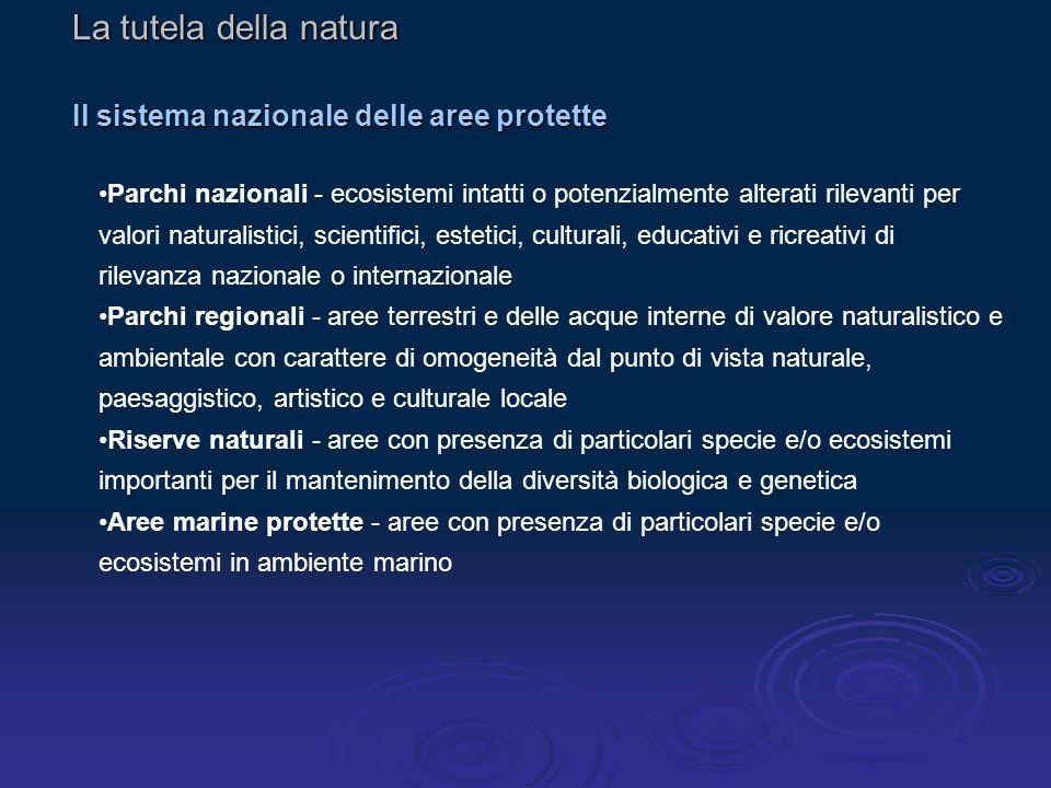 La tutela della natura Il sistema nazionale delle aree protette