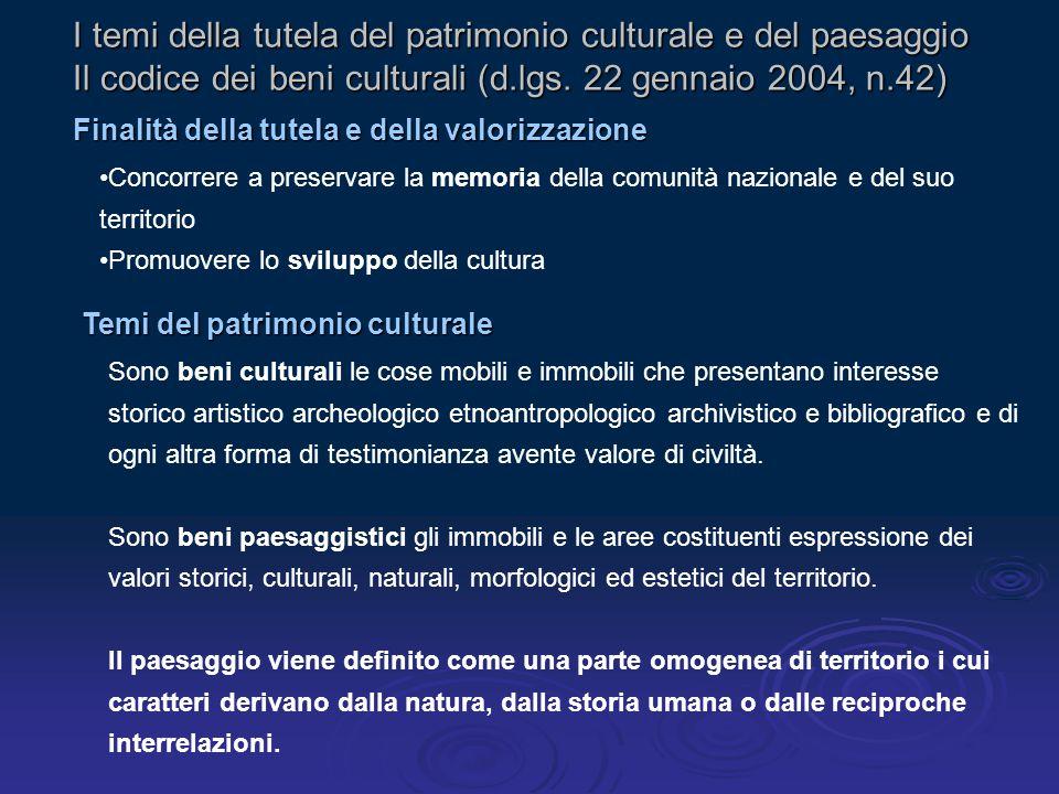 I temi della tutela del patrimonio culturale e del paesaggio