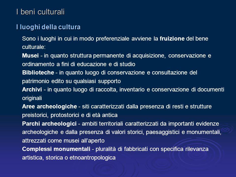 I beni culturali I luoghi della cultura