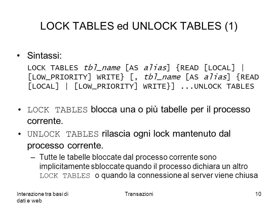LOCK TABLES ed UNLOCK TABLES (1)