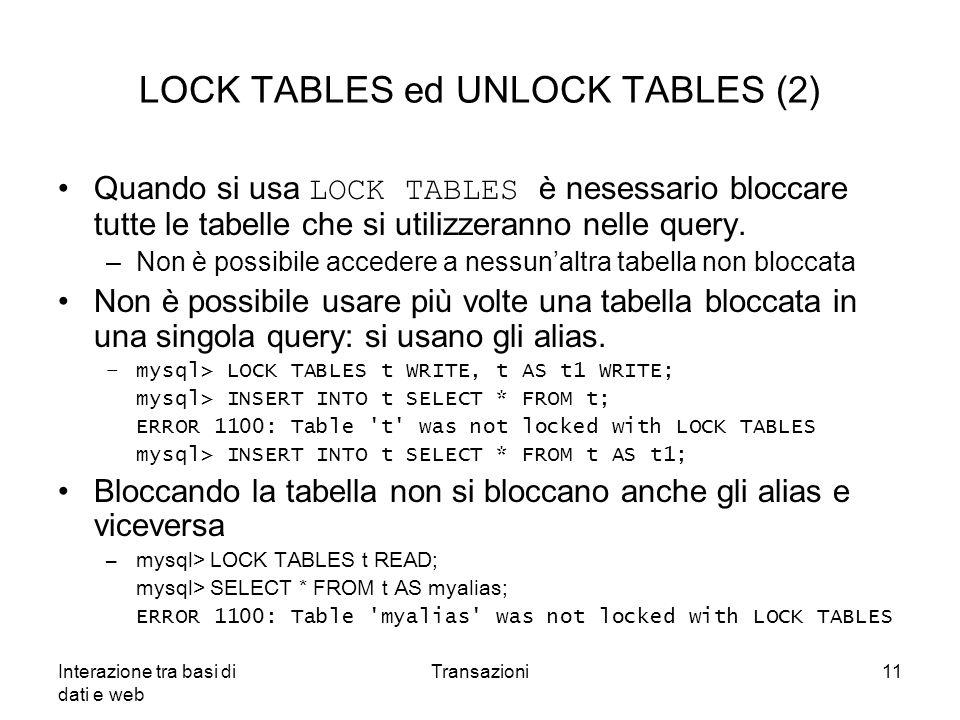 LOCK TABLES ed UNLOCK TABLES (2)