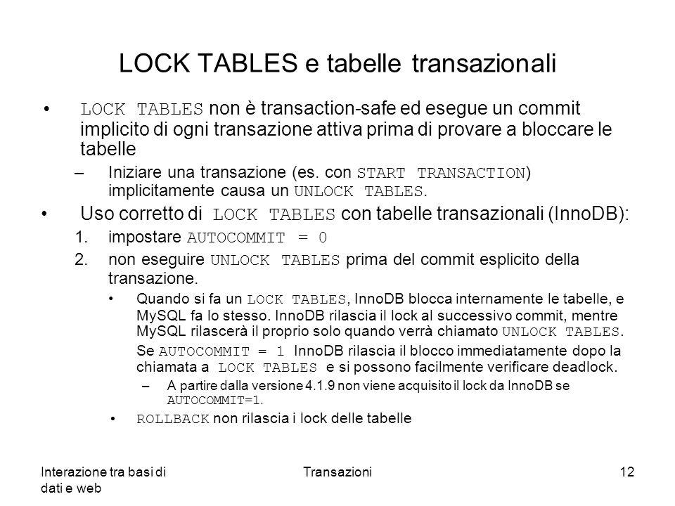 LOCK TABLES e tabelle transazionali