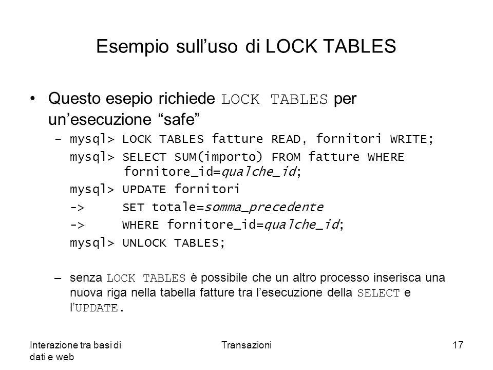 Esempio sull'uso di LOCK TABLES