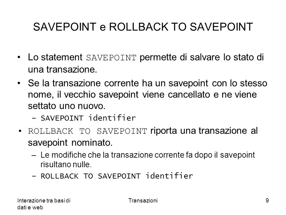SAVEPOINT e ROLLBACK TO SAVEPOINT