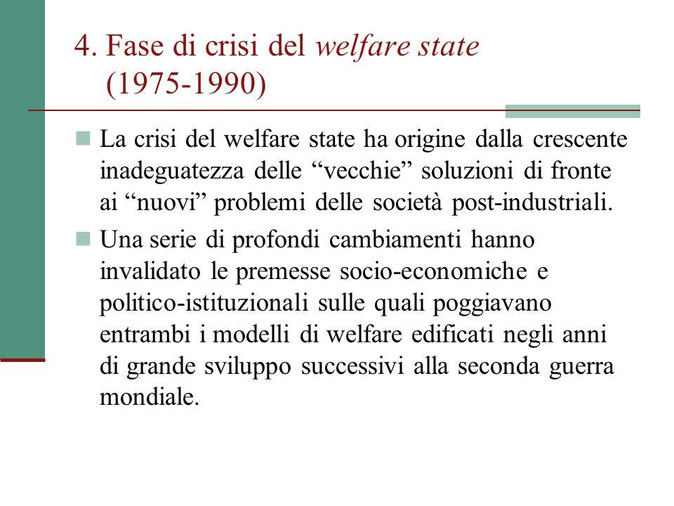 4. Fase di crisi del welfare state (1975-1990)