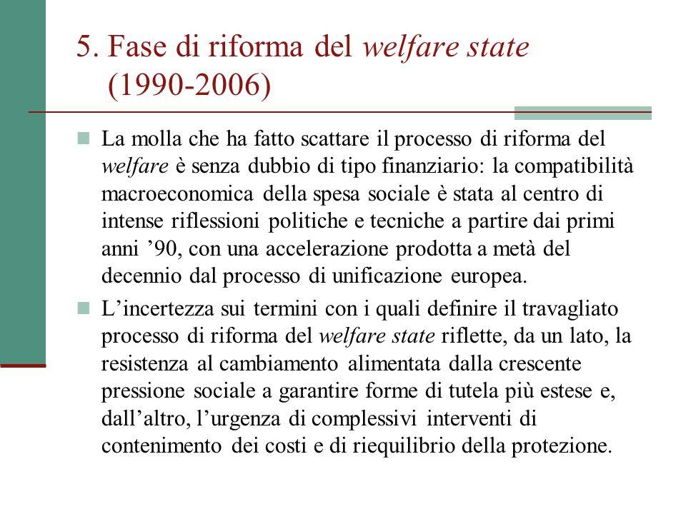 5. Fase di riforma del welfare state (1990-2006)