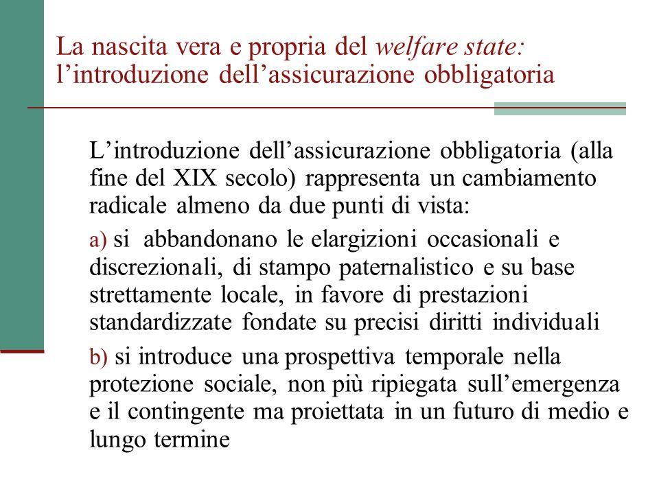 La nascita vera e propria del welfare state: l'introduzione dell'assicurazione obbligatoria