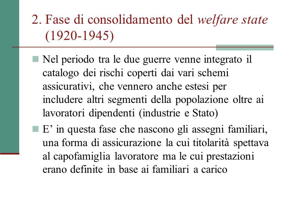 2. Fase di consolidamento del welfare state (1920-1945)