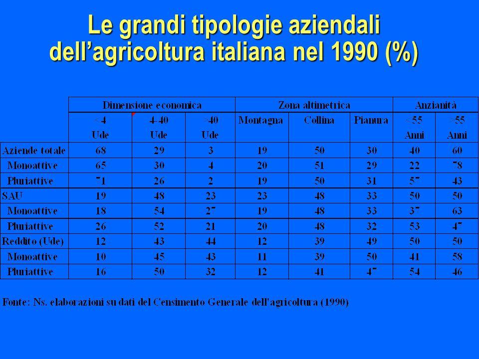 Le grandi tipologie aziendali dell'agricoltura italiana nel 1990 (%)