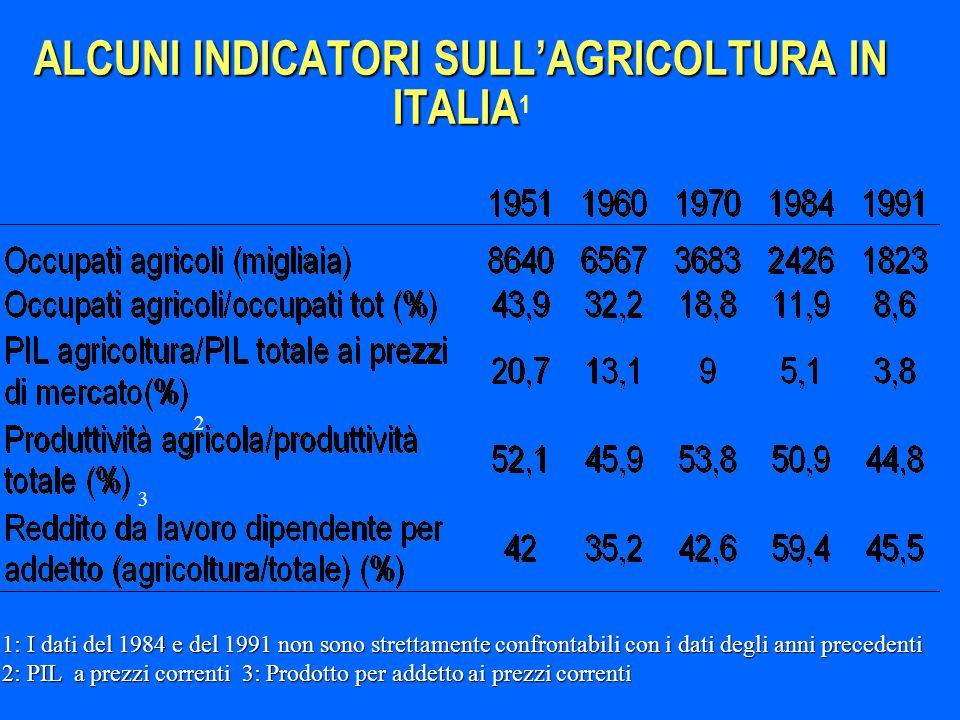ALCUNI INDICATORI SULL'AGRICOLTURA IN ITALIA1