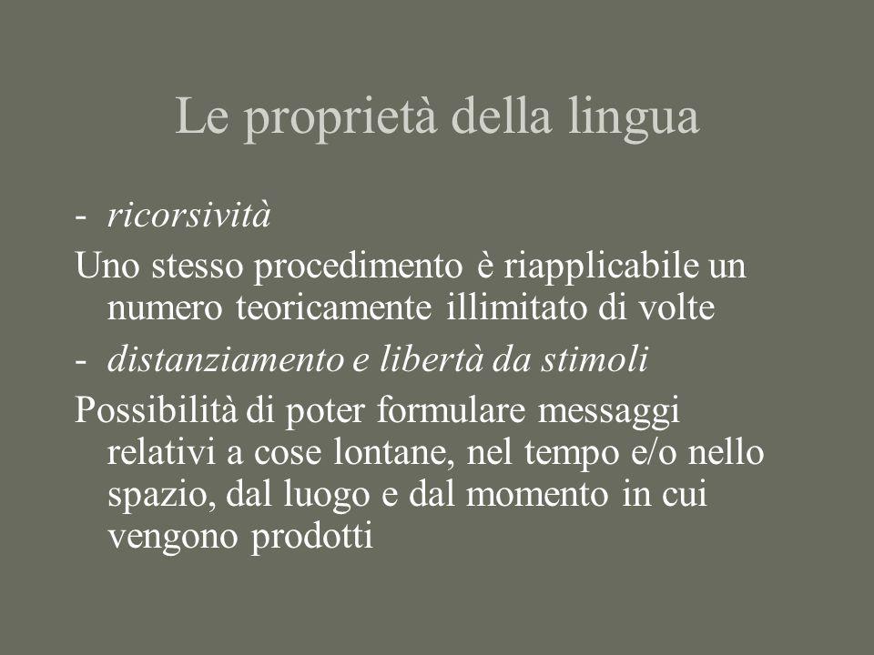 Le proprietà della lingua
