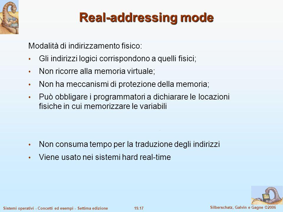 Real-addressing mode Modalità di indirizzamento fisico: