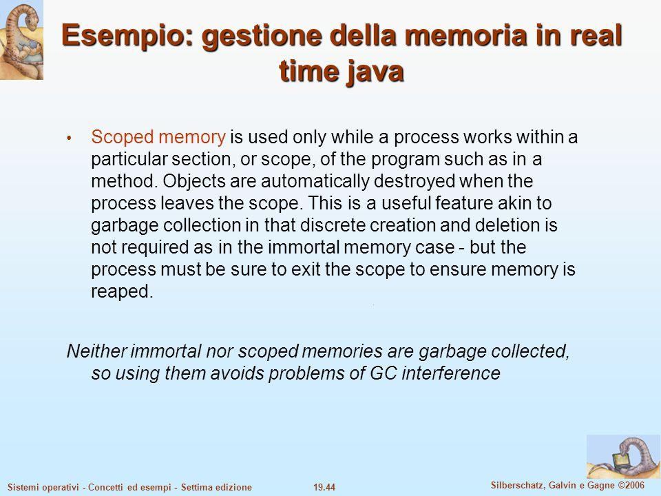 Esempio: gestione della memoria in real time java