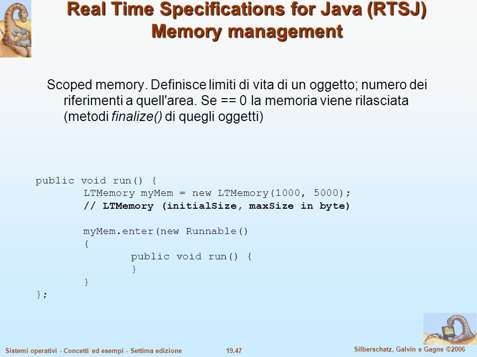 Real Time Specifications for Java (RTSJ) Memory management