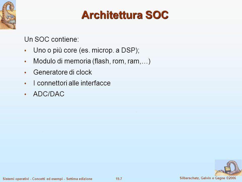 Architettura SOC Un SOC contiene: Uno o più core (es. microp. a DSP);