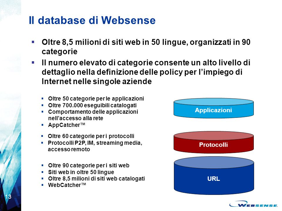 Il database di Websense