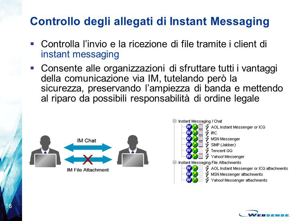 Controllo degli allegati di Instant Messaging
