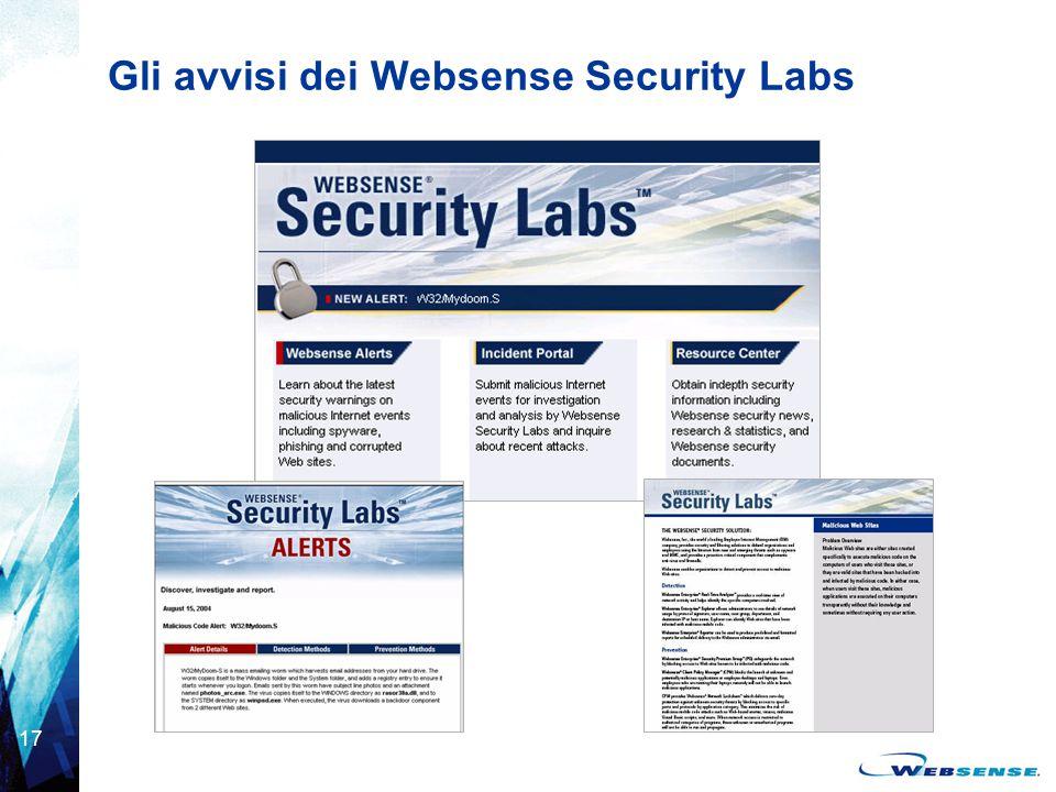 Gli avvisi dei Websense Security Labs