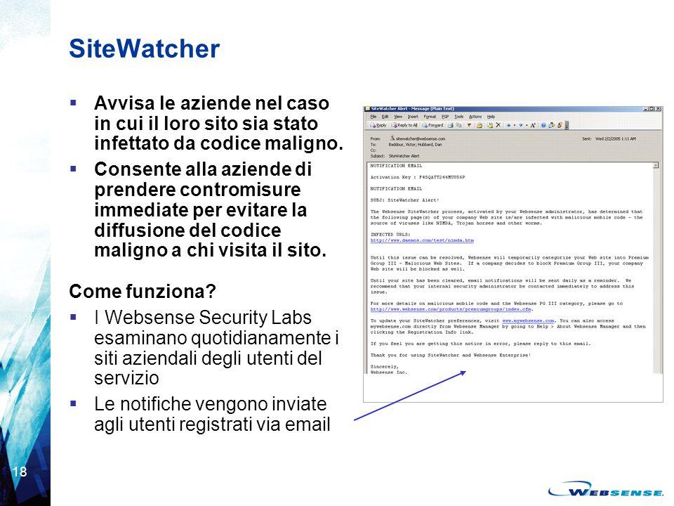 SiteWatcher Avvisa le aziende nel caso in cui il loro sito sia stato infettato da codice maligno.
