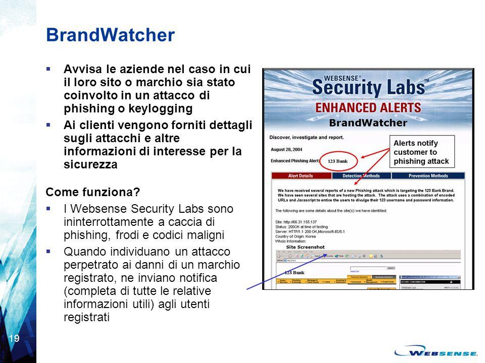 BrandWatcher Avvisa le aziende nel caso in cui il loro sito o marchio sia stato coinvolto in un attacco di phishing o keylogging.