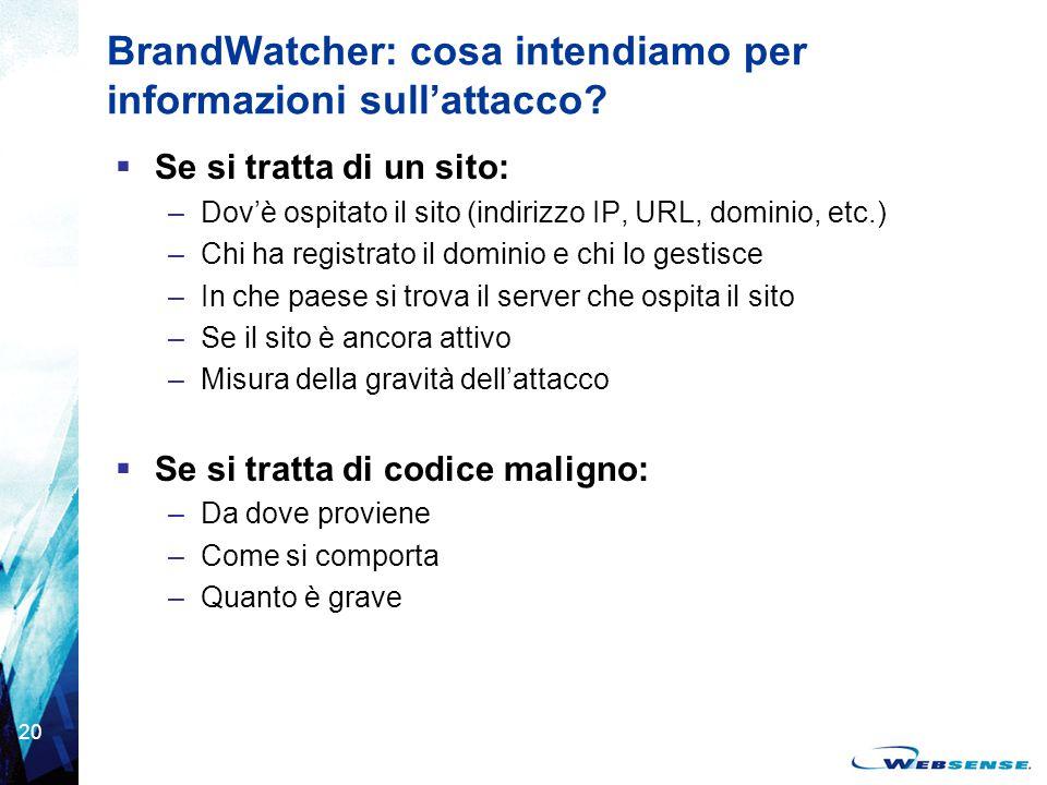 BrandWatcher: cosa intendiamo per informazioni sull'attacco