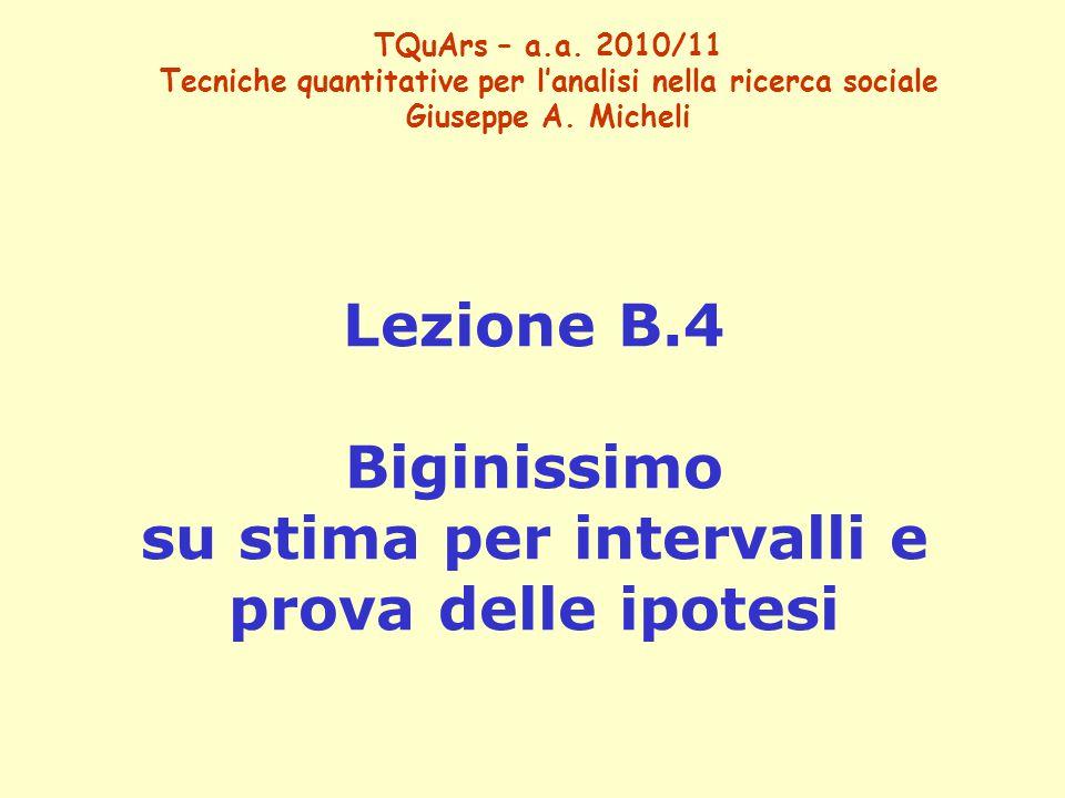 Lezione B.4 Biginissimo su stima per intervalli e prova delle ipotesi
