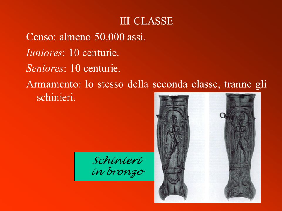 Armamento: lo stesso della seconda classe, tranne gli schinieri.