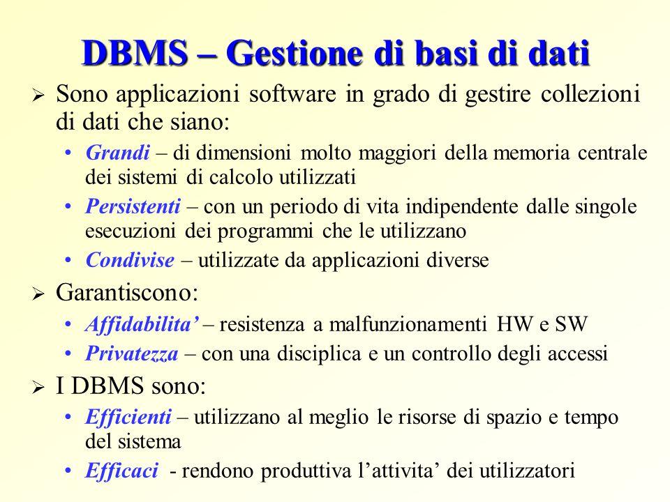 DBMS – Gestione di basi di dati
