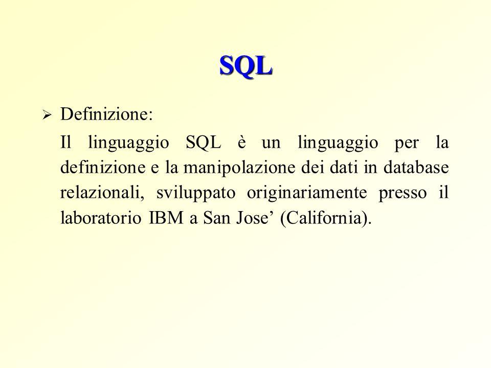 SQL Definizione: