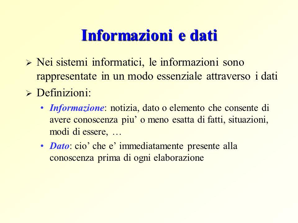 Informazioni e dati Nei sistemi informatici, le informazioni sono rappresentate in un modo essenziale attraverso i dati.