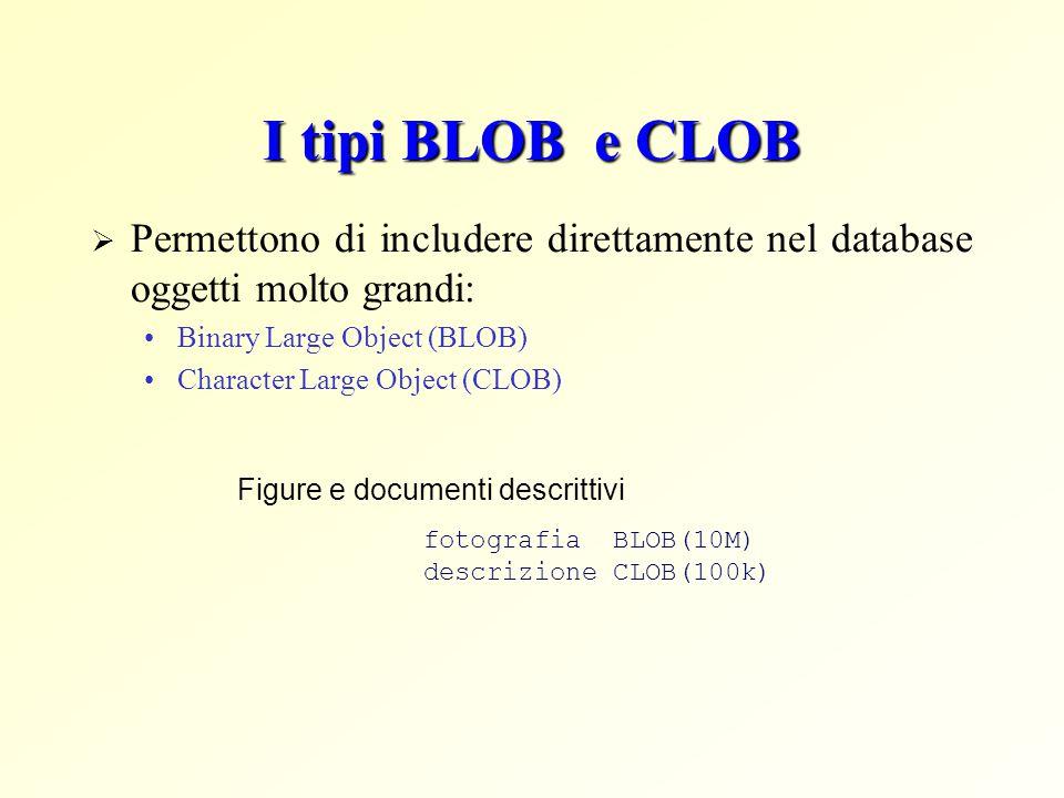I tipi BLOB e CLOB Permettono di includere direttamente nel database oggetti molto grandi: Binary Large Object (BLOB)