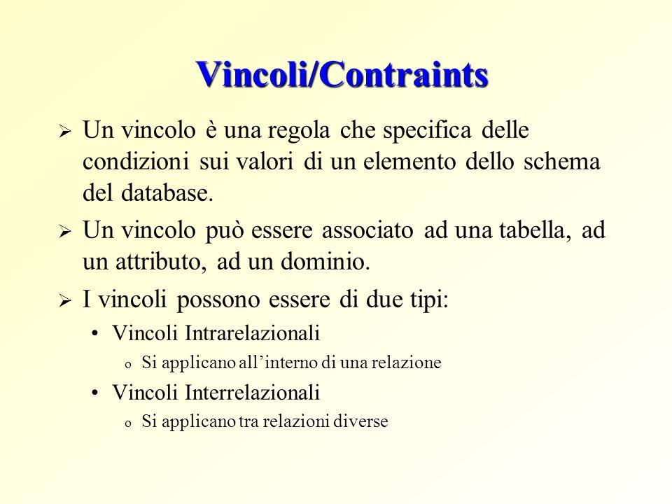 Vincoli/Contraints Un vincolo è una regola che specifica delle condizioni sui valori di un elemento dello schema del database.