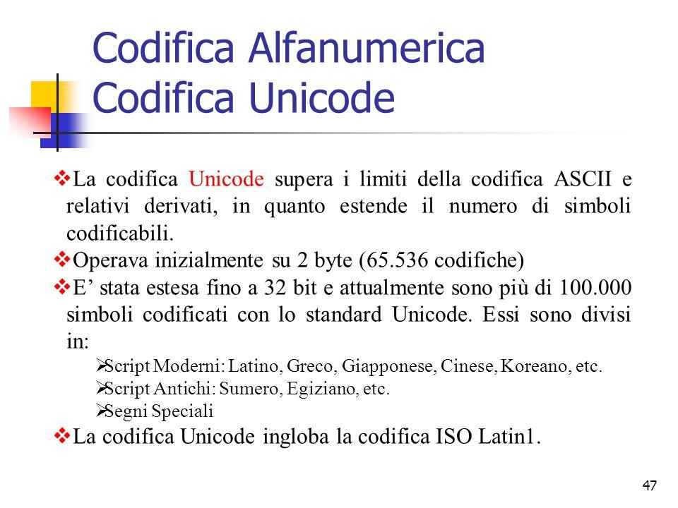 Codifica Alfanumerica Codifica Unicode