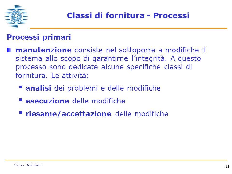 Classi di fornitura - Processi
