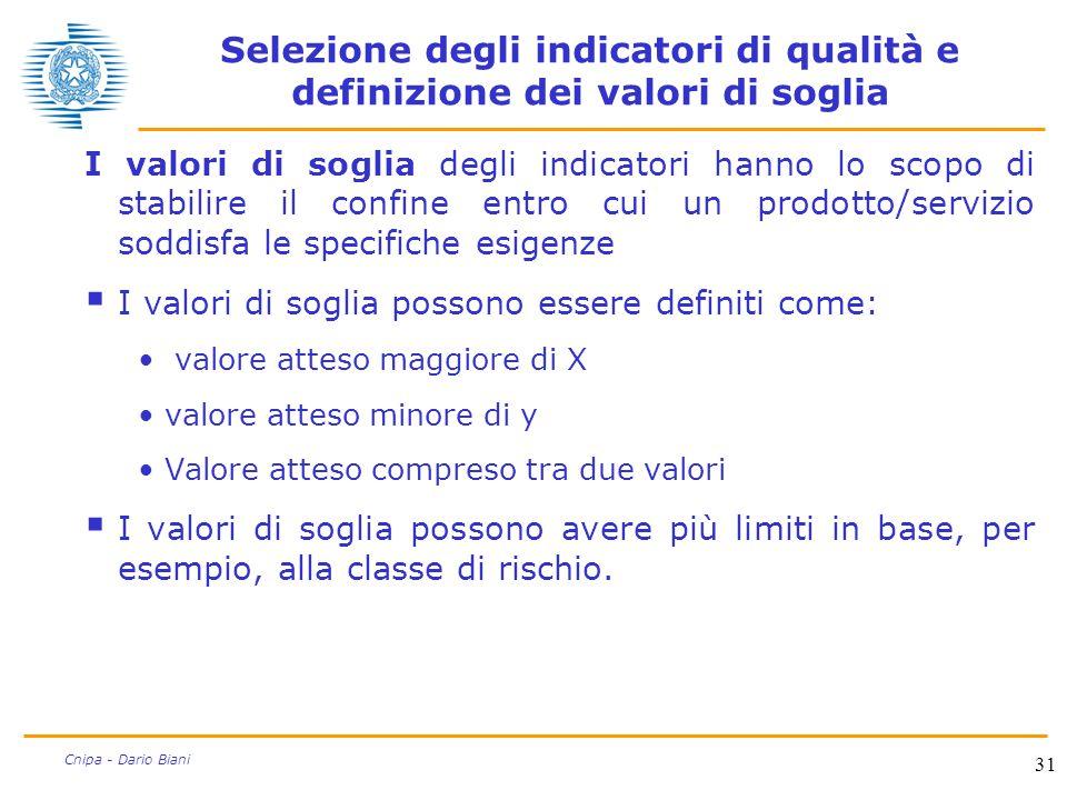Selezione degli indicatori di qualità e definizione dei valori di soglia