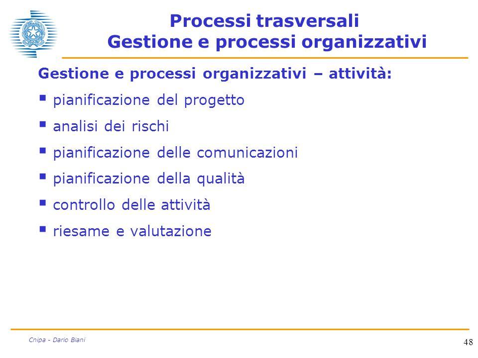 Processi trasversali Gestione e processi organizzativi