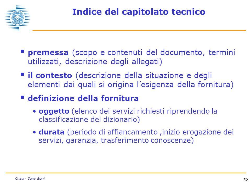 Indice del capitolato tecnico