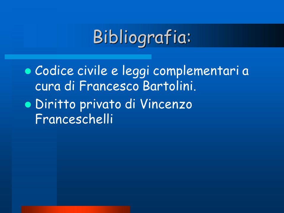 Bibliografia: Codice civile e leggi complementari a cura di Francesco Bartolini.