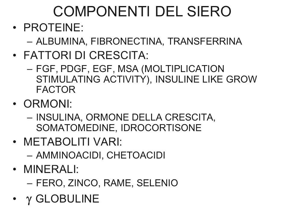 COMPONENTI DEL SIERO PROTEINE: FATTORI DI CRESCITA: ORMONI: