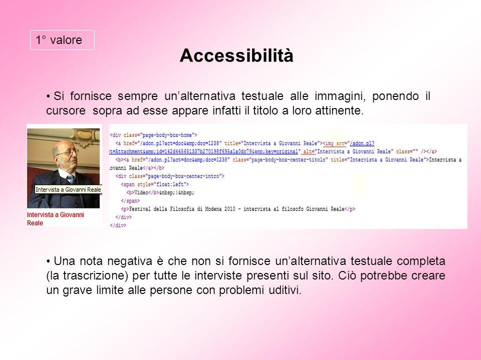 Accessibilità 1° valore