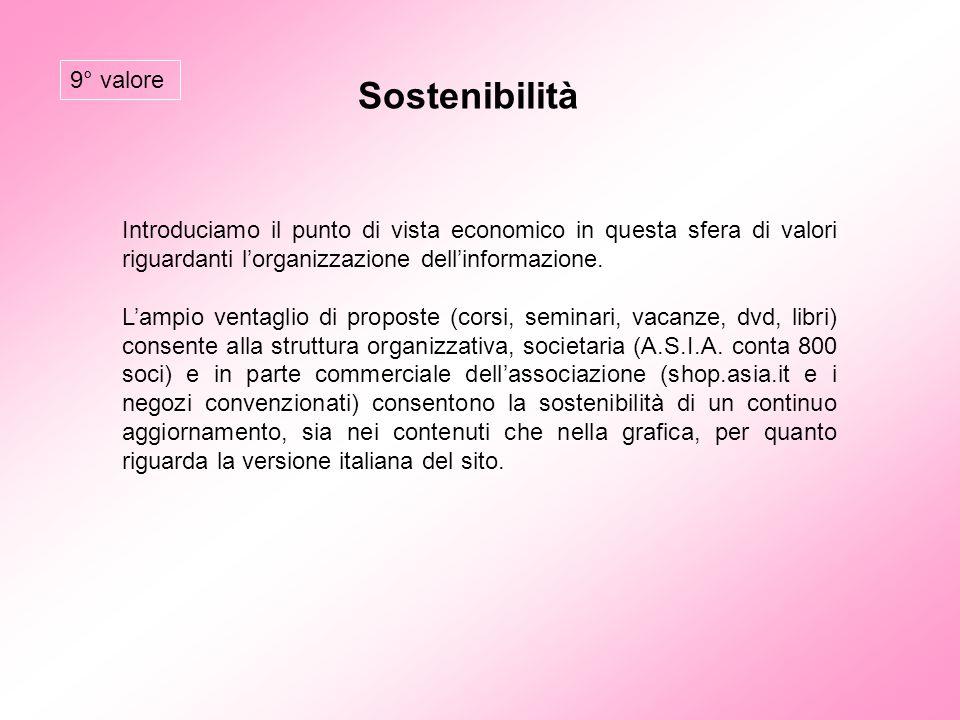 Sostenibilità 9° valore