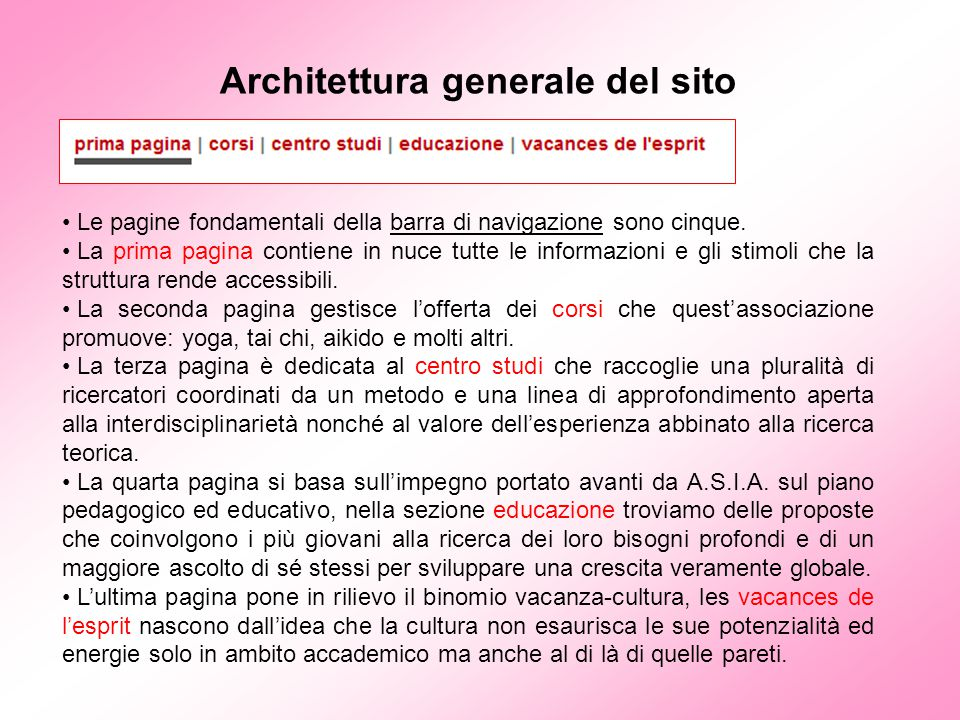Architettura generale del sito